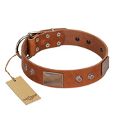 """Great Obelisk"" Handcrafted FDT Artisan Tan Leather English Bulldog Collar with Large Plates and Pyramids"