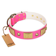 """Glammy Voyage"" FDT Artisan Pink Leather English Bulldog Collar with Stylish Bronze-like Decorations"