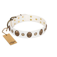 """Fatal Beauty"" FDT Artisan White Leather English Bulldog Collar with Old Bronze-like Studs and Oval Brooches"