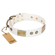 """Pure Elegance "" FDT Artisan White Decorated Leather English Bulldog Collar - 1 1/2 inch (40 mm) wide"