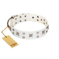 """Star Patrol"" FDT Artisan White Leather English Bulldog Collar Adorned with Stars and Studs"
