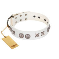 """Galaxy Hunter"" FDT Artisan White Letaher English Bulldog Collar with Engraved Brooches and Stars"