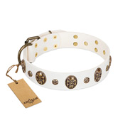 """Magic Bullet"" FDT Artisan White Leather English Bulldog Collar with Studs and Skulls"