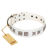 """Mister Perfection"" Designer Handmade FDT Artisan White Leather English Bulldog Collar"