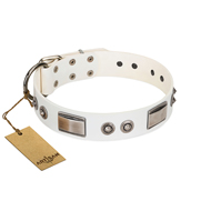 """Good-Luck Piece"" FDT Artisan White English Bulldog Collar Adorned with Chrome Plated Studs and Plates"