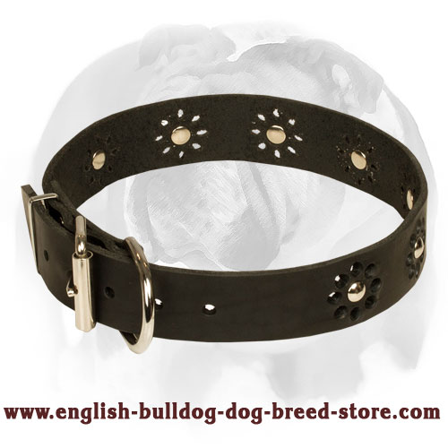 'Flower Blues' English Bulldog Leather Dog Collar