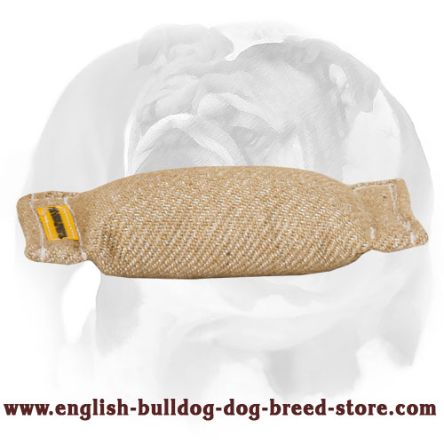 English Bulldog Jute Puppy Bite Tug (Pillow) without Handles