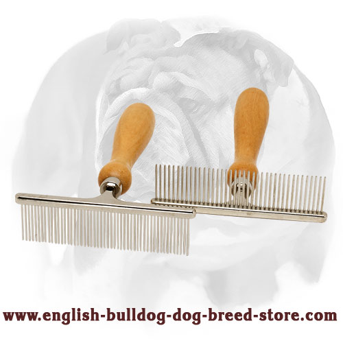 """Hair Designer"" English Bulldog Comb with Wooden Handle"