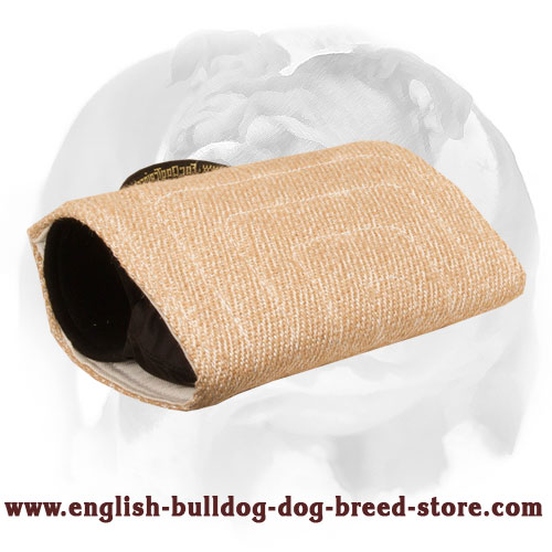 English Bulldog Solid Jute Bite Builder Sleeve for Training Young and Adult Dogs