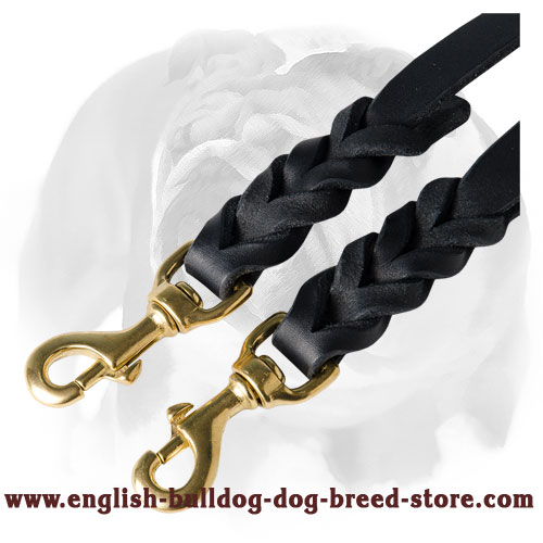 English Bulldog Braided Leather Coupler for 2 Dogs