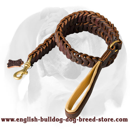 Luxurious Braided Leather Dog Leash for English Bulldog Breed