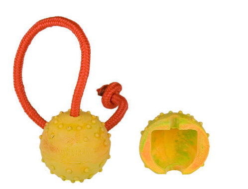 2 inch Dog training Ball on string made of rubber half-hollow