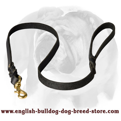 English Bulldog Handcrafted Leather Dog Leash for Walking and Training