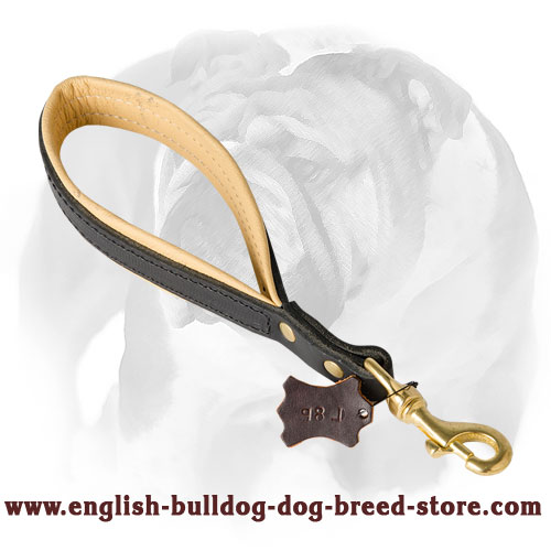 English Bulldog Short Leather Pull Tab Dog Leash