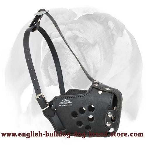 Police Leather English Bulldog Muzzle for Service Dogs