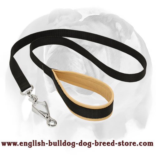 English Bulldog Nylon Dog Leash with Soft Inner Padded Handle