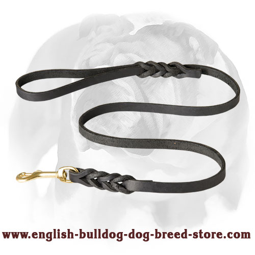 Leather dog leash with rust-proof hardware for English Bulldog