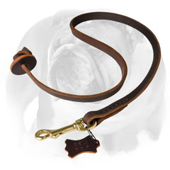 Leather English Bulldog leash with round handle