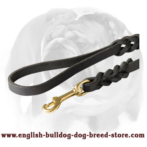Braided design leather dog leash for English Bulldog