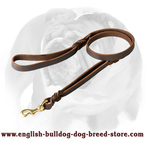 Leather dog leash with extra handle for English Bulldog