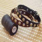 English Bulldog Leather Dog Collar With Circles